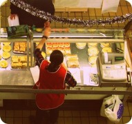 Candid view of a pie counter in Preston's Indoor Market