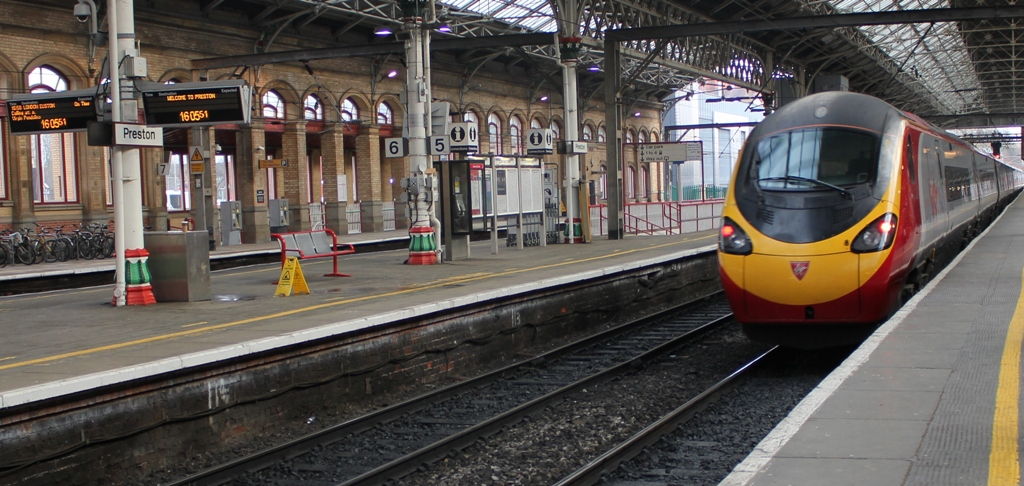 Virgin Trains service to London Euston departing Preston