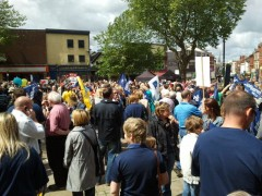 People protesting earlier this year on the flag market