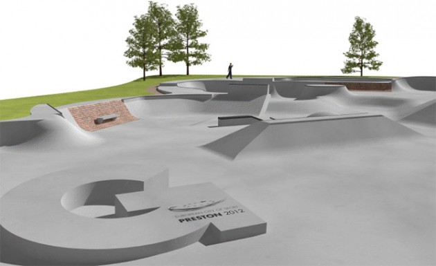 close up view of artist impression of moor park skate park