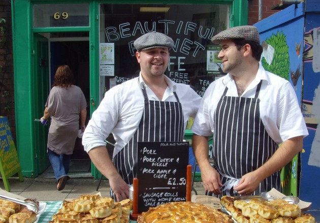 pork pie sellers at lancashire market