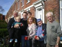 Arthur Heaps (far left) visiting family members in Preston