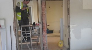 Builders hard at work in the new cafe