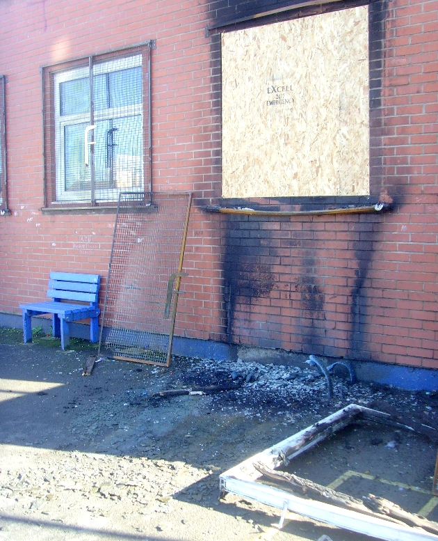 Fire damage to the centre in March