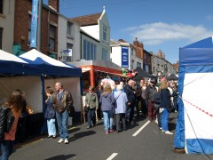 Stalls on Friargate basking in Easter sunshine