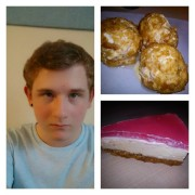 Luke Binns and some of his dessert creations