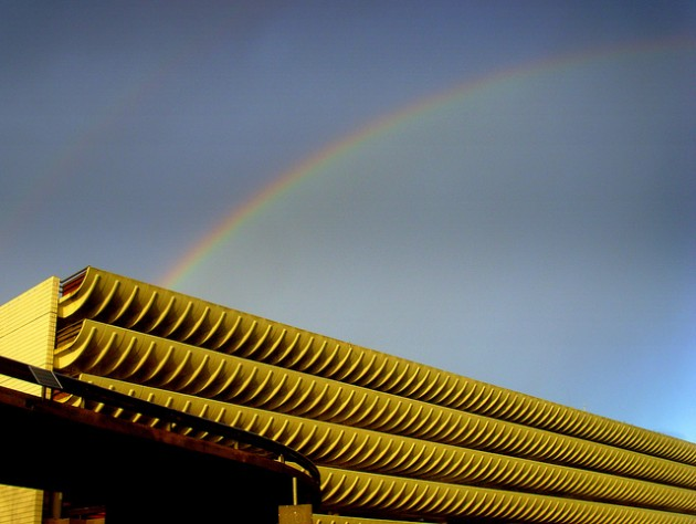 A rainbow over Preston Bus Station