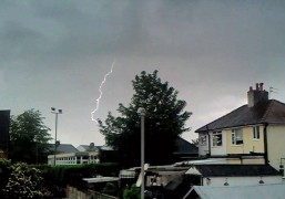 Lightning strikes over Preston