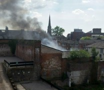 Smoke was billowing across the city centre in late afternoon. Pic by Tom Stables.