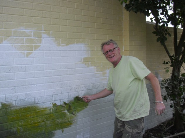 Volunteers are working hard with local artists to complete the mural