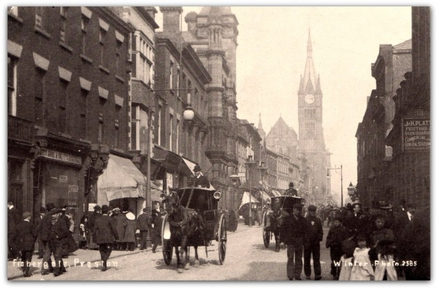 Fishergate, Preston. Sepia postcard. Winter Photo (Arthur Winter)