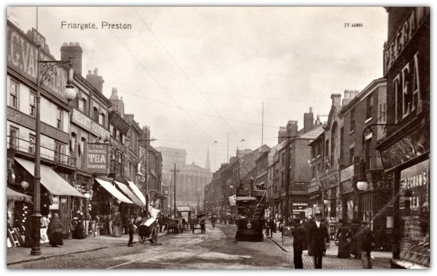 Friargate, Preston. Sepia postcard by Valentines of Dundee