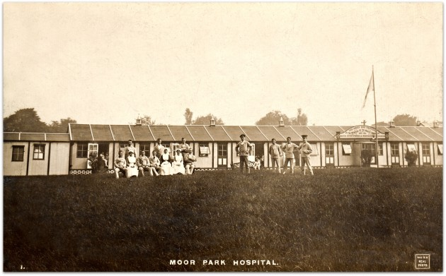 Moor Park Hospital. Sepia postcard RP-PPC No. 1 by A.J. Evans Publisher, Preston