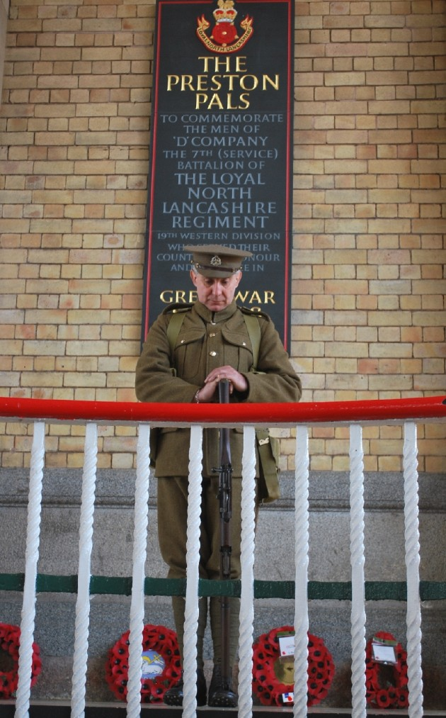 The lone WWI Soldier stands guard