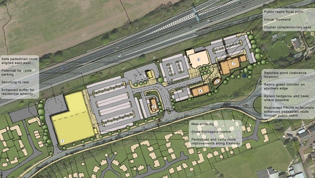 The land off Eastway could become a new supermarket and other stores