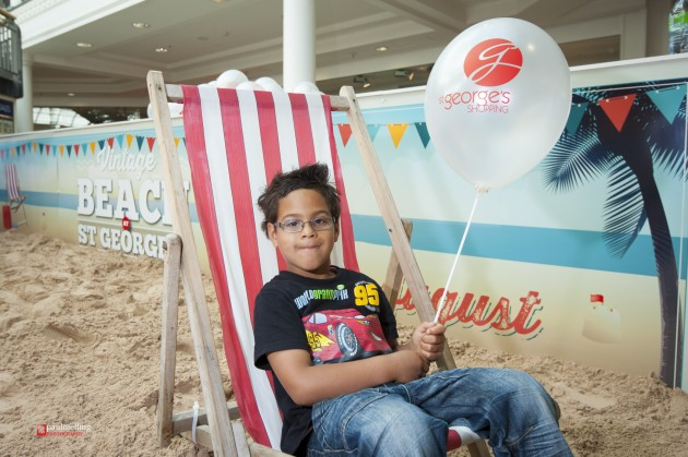 The first visitor to the indoor beach when it arrived last year