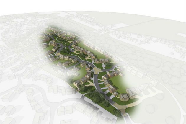 Artist impression aerial view of the development area