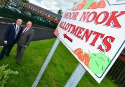 County Councillors Ellard and Fillis at the allotment