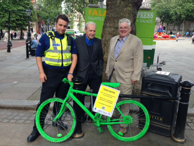 One of the colourful bikes with PCSO Stephen Connolly, Lancashire Partnership Against Crime chairman Jimmy Arnfield and vice-chair David Smith