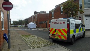 Police van parked on St Stephens'Road, Deepdale on Sunday lunchtime