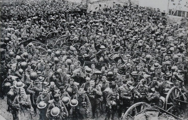 One of the exhibits at the museum showing an image of the 1st/4th Loyal North Lancashires, the Preston Territorials, 'cheering gaily' when ordered to the trenches, France 1916. They are carrying their newly-issued steel helmets