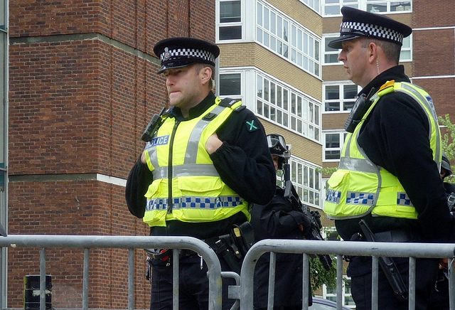 Police officers standing guard in Preston