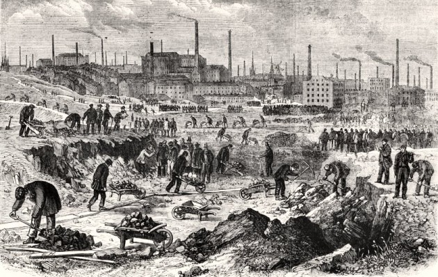 Lythograph of Mill-Hands At Work On Preston Moors 1862