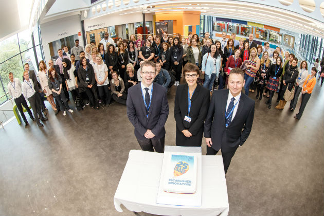 Students and staff at the official In-Zone building opening
