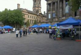 The Flag Market had stalls explaining what the teams were doing