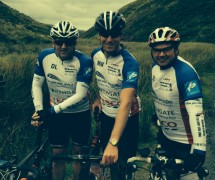 Dave Lakeland, Mike Warren, Simon Storey on a recent training ride in the Trough of Bowland