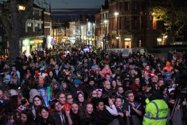 Crowds at the Flag Market for last year's Christmas Lights Switch On
