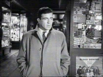 Alan Bates with Lavell's kiosk inside the Miller Arcade, Preston, in a scene from the film A Kind of Loving