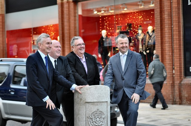 Left to Right - Phil Barrett (LCC director of Lancashire Highway Services), County Councillor John Fillis (cabinet member for highways and transport),  Councillor John Swindells (Deputy Leader of the City Council and Cabinet Member for Planning and Regulation), Andrew Stringer (St George's Shopping Centre Manager)