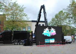 The big screen being set-up for the day's fun viewing