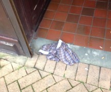 We'd like to know the thought process that ended up with this solitary boxer shorts on the step