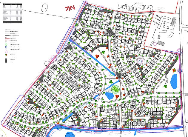 How the 288 new homes would be laid out across the site