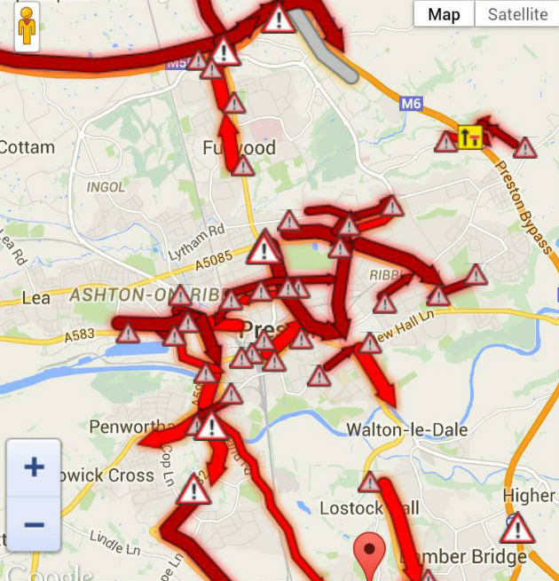 One sat nav view from a reader, who says this has become normal