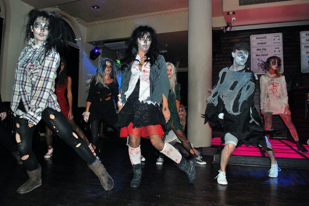 Zombie flashmob in a Preston bar