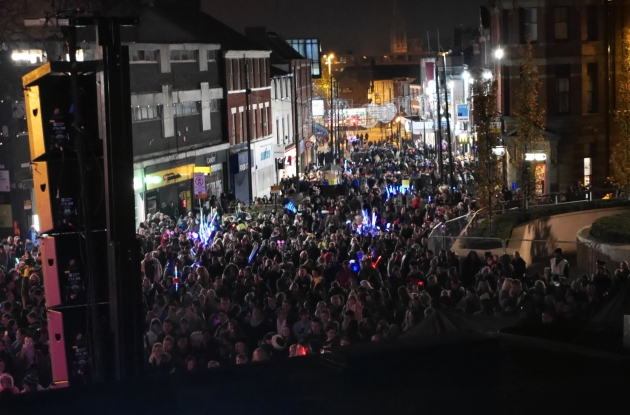 Crowds down Friargate for the switch on