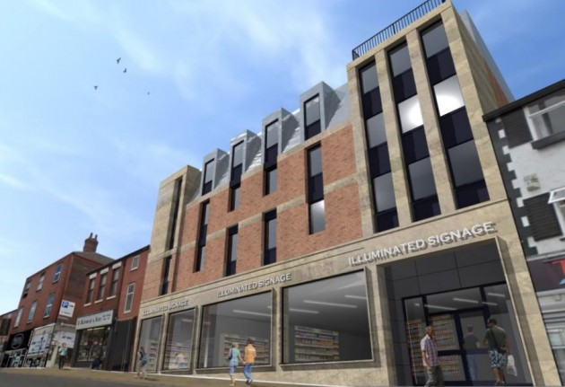 The new retail unit fronting onto Friargate with student flats above
