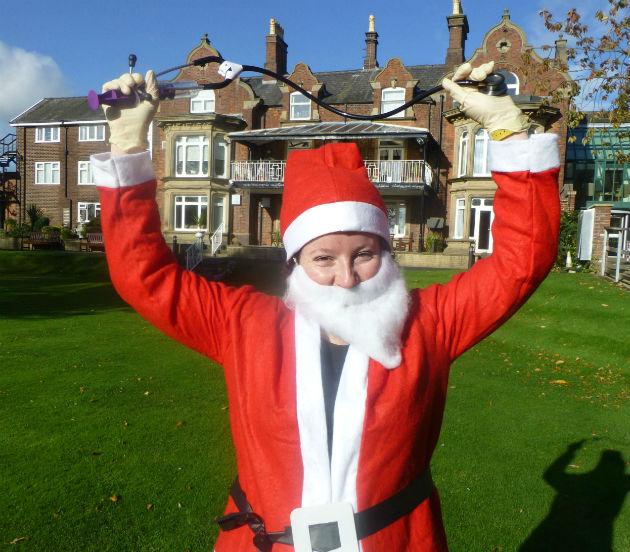 Dr Wilkinson models her santa suit