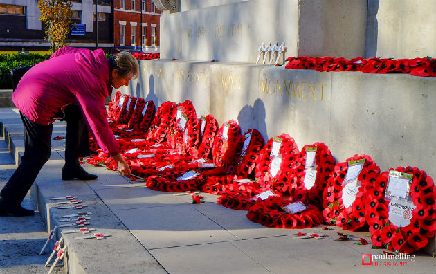 Paying respects at the Cenotaph in 2013