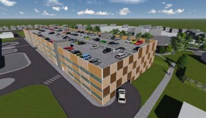 Aerial view of the new car park