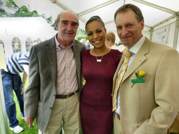 Tish with  Hospice chief executive Stephen Greenhalgh to the right and  chair of Trustees Cliff Hughes MBE to the left