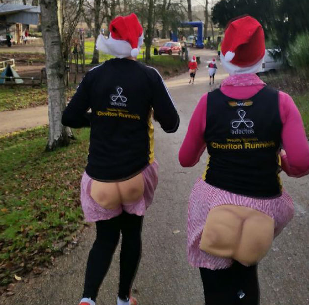 Chorlton runners supported Ben and donned the bum pants Pic: Peter Kelly