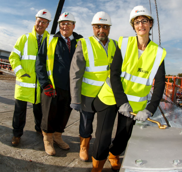 L-R - Kier managing director Gary Wintersgill project manager Phil Shepherd Preston's college Governor Ebrahim Batan Principal Lis Smith