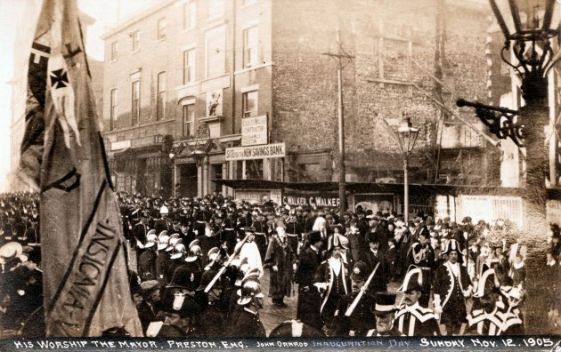 Site of the soon to be built Preston Savings Bank on Church Street, Preston. Sunday November 12th 1905 His Worship the Mayor Alderman John Ormrod (1905-6) Inauguration Day. John Ormrod succeeded Mayor William McKune Margerison. Procession seen entering the Parish Church. Pic: Preston Digital Archive