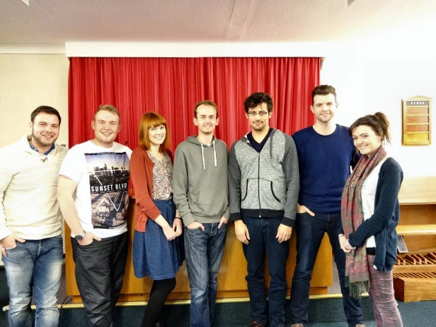 Cast named left to right Matt Byrne Writer and Director, Mike Coombes as Mr. Gulliver, Rachel Watson as Carol, Sean Chriscole as Marcus, Scott Hodgson as Eli, Jonathan Whitehurst as David and Emma Catherine Tierney as Claire.