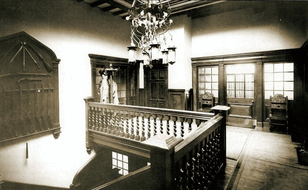 A view of the interior of the office building before it became the property of Barclay's Bank