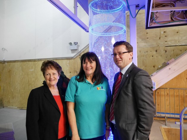 Rob Wilson in one of the multi sensory rooms in the Space Centre with Hilary Holden (left) and Manager Alison Shorrock